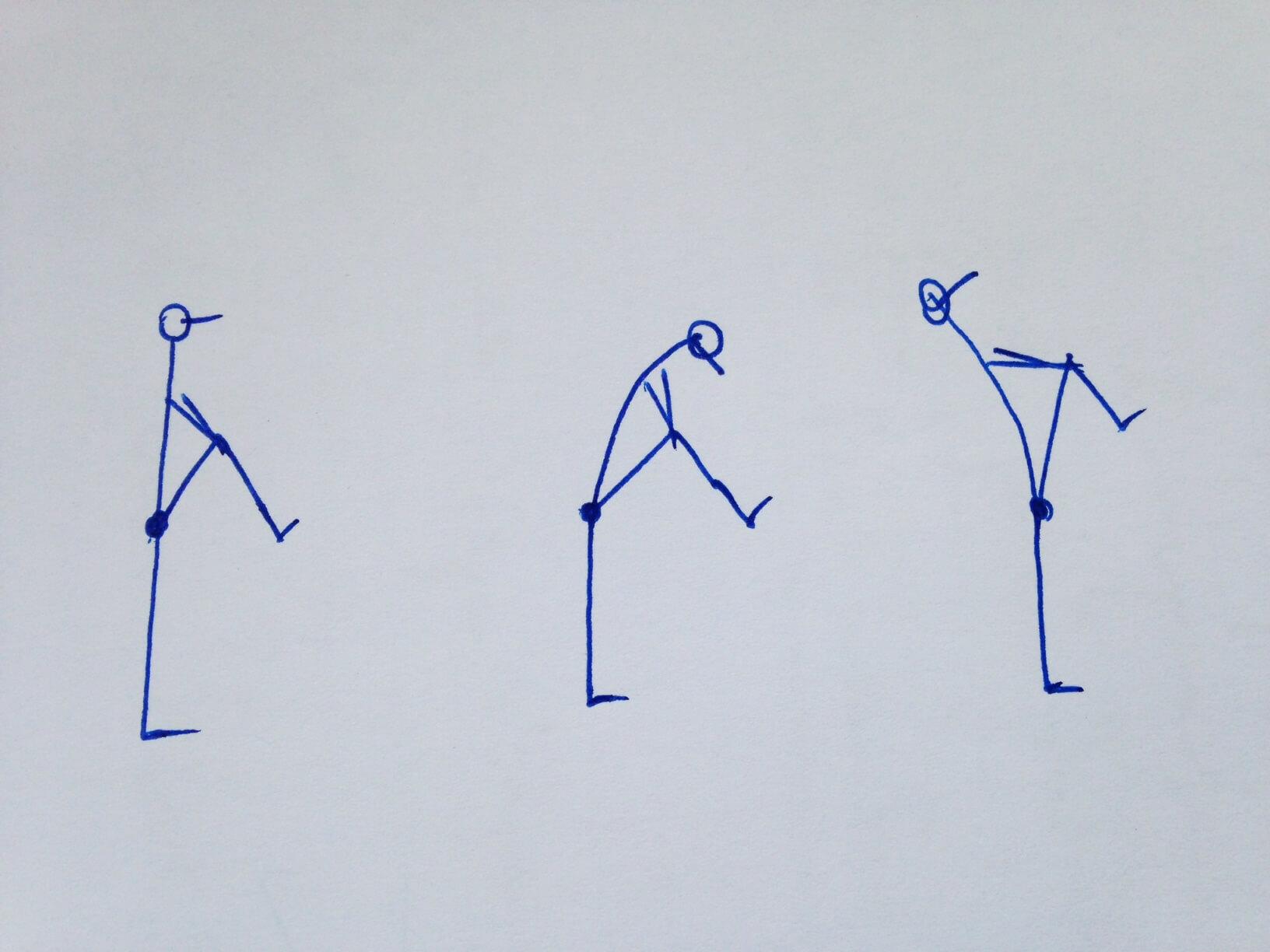 Im Stand langsam ein Knie zum Oberkörper ziehen und mit beiden Händen umarmen. Dadurch entsteht eine sanfte Dehnung des unteren Rückens (linke Grafik). Als Varianten kann eine Vorbeuge integriert werden, indem die Nase Richtung Knie senkt (mittlere Grafik) oder eine kleine Rückbeuge eingenommen werden, um die Körpervorderseite zu dehnen (rechte Grafik).